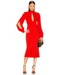 Victoria Beckham - Slash Front Long Sleeve Midi Dress - Lyst