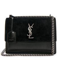 Saint Laurent - Medium Leather & Suede Monogramme Sunset Chain Bag - Lyst