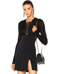David Koma - Lace Up Long Sleeve Knit Bodysuit - Lyst