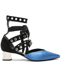 Self-Portrait - X Robert Clergerie Susas Heels In Blue Satin - Lyst