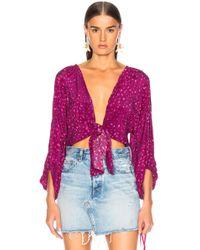 Adriana Degreas - Pomegranate Shirt With Voluminous Sleeves - Lyst