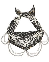 COACH - Garden Rose Embellished Silk Diamond Bandana In Black - Lyst