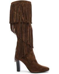 Saint Laurent - Suede Lily Fringe Boots - Lyst