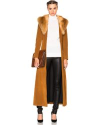 ThePerfext - Penny Lane Long Suede Coat With Fox Fur Collar - Lyst
