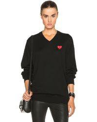 COMME DES GARÇONS PLAY - Wool Jersey Intarsia Red Emblem Sweater - Lyst