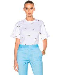 Victoria, Victoria Beckham | Ruffle Sleeve Tee Shirt | Lyst