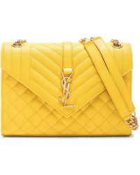 7992f2bed398a Lyst - Saint Laurent Soft Envelope Quilted Leather Shoulder Bag in Green