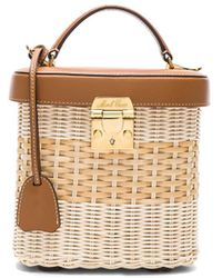 Mark Cross - Benchley Rattan Bag In Bleached & Smooth Luggage - Lyst