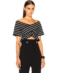 Proenza Schouler - Stripe Jacquard Suiting Off The Shoulder Top - Lyst