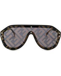 ef364dc8ba Fendi - Logo Face Sunglasses In Black Gold   Gold Decor - Lyst