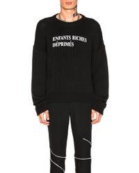 Enfants Riches Deprimes - M Merino Wool Logo Crewneck Sweatshirt - Lyst