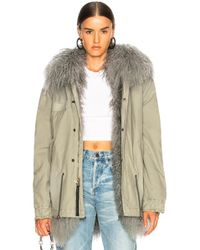 6afe0b34b6ea Lyst - Yves Salomon Fur-lined Cotton-Canvas Army Parka Jacket in Green