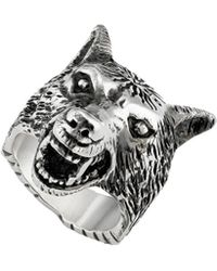Gucci - Anger Forest Wolf Head Ring - Lyst