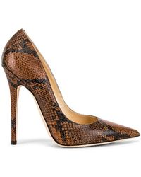 Jimmy Choo Snake Print Anouk 120 Heel - Brown