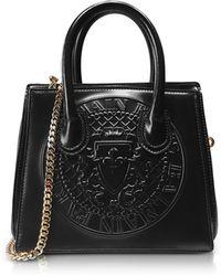 Balmain | 3d Black Glossy Leather Mini Top Handle Bag W/embossed Blazon | Lyst