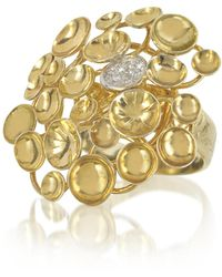 Orlando Orlandini - 18k Yellow Gold Large Bouquet Ring W/diamond - Lyst