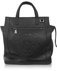 Balmain Black Smooth Leather Men's Square Tote Bag w/Embossed Blazon - Noir