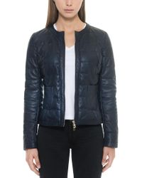 FORZIERI - Dark Blue Quilted Leather Women's Jacket - Lyst