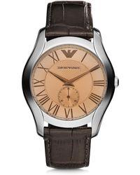 Emporio Armani - Steel Men's Watch W/croco Strap - Lyst