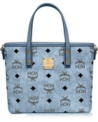 MCM | Mini Denim Eco Leather Top Zip Shopping Bag | Lyst