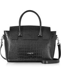 Lancaster Paris - Black Croco Embossed Leather Satchel Bag - Lyst 1a8ac11795