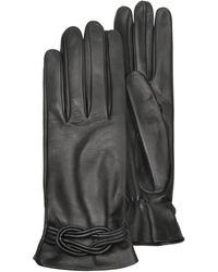 FORZIERI - Women's Black Leather Gloves W/ Knot - Lyst