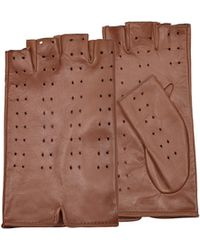 FORZIERI - Women's Tan Perforated Fingerless Leather Gloves - Lyst