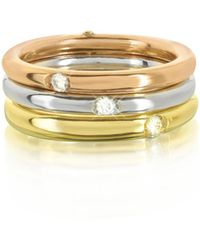 Bernard Delettrez - 18k White Yellow And Pink Gold Triple Secret Ring W/diamonds - Lyst