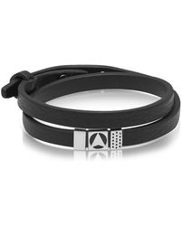 Northskull - Insignia Black And Silver Double Wrap Bracelet - Lyst