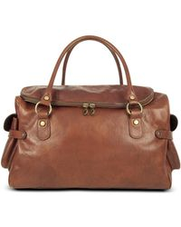 14d89e07a062d Robe Di Firenze - Large Brown Pebbled Italian Leather Carryall Bag - Lyst