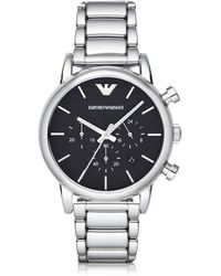 Emporio Armani - Silver Tone Stainless Steel Men's Watch - Lyst