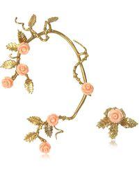Bernard Delettrez - Bronze Ear Cuff W/pale Pink Resin Roses - Lyst