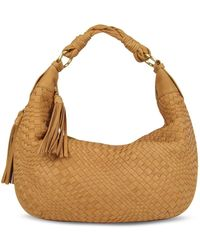 Fontanelli - Tan Washed Woven Leather Gusset Hobo Bag - Lyst