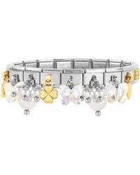 Nomination - Classic Bright Charms Gold And Stainless Steel Bracelet W/crystals And Pearls - Lyst
