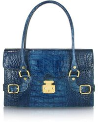 L.A.P.A. - Indigo Blue Croco Stamped Italian Leather Shoulder Bag - Lyst