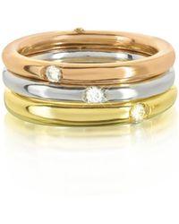 Bernard Delettrez - 9k White Yellow And Pink Gold Triple Secret Ring W/diamonds - Lyst