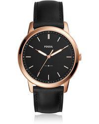 Fossil - The Minimalist Slim Three-hand Black Leather Men's Watch - Lyst
