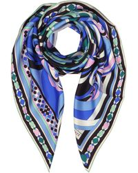 Emilio Pucci - Cobalt Blue Geometric Pattern Print Twill Silk Square Scarf - Lyst