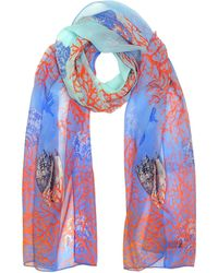 Mila Schon - Light Blue Coral Reef Printed Chiffon Silk Stole - Lyst