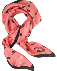 Moschino - Shoes Printed Silk Square Scarf - Lyst