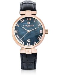 Lancaster - Chimaera Rose Gold Stainless Steel And Black Croco Leather Watch - Lyst