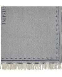 Maison Kitsuné - Navy And Camel Fox Plaid Wool Wrap - Lyst