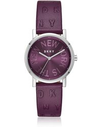 DKNY - Soho Purple Leather Women's Watch - Lyst
