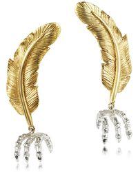Bernard Delettrez - Bronze Feather W/silver Claw Earrings - Lyst