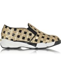 Pinko - Sequins Gold Fabric Sneaker - Lyst