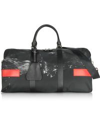 Neil Barrett - Black/white Liquid Ink Printed Nylon Gym Bag W/red Leather Band - Lyst