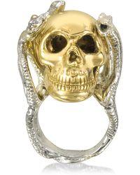 Bernard Delettrez - Four Snakes Ring W/bronze Skull - Lyst