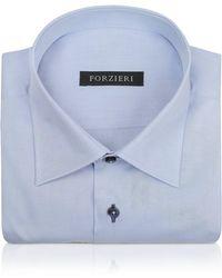 FORZIERI - Blue Twill Dress Shirt - Lyst