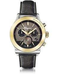 Ferragamo - Ferragamo 1898 Stainless Steel And Gold Ip Men's Chronograph Watch W/black Croco Embossed Strap - Lyst
