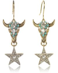 Roberto Cavalli | Goldtone Brass Earrings W/crystals And Mint Green Beads | Lyst